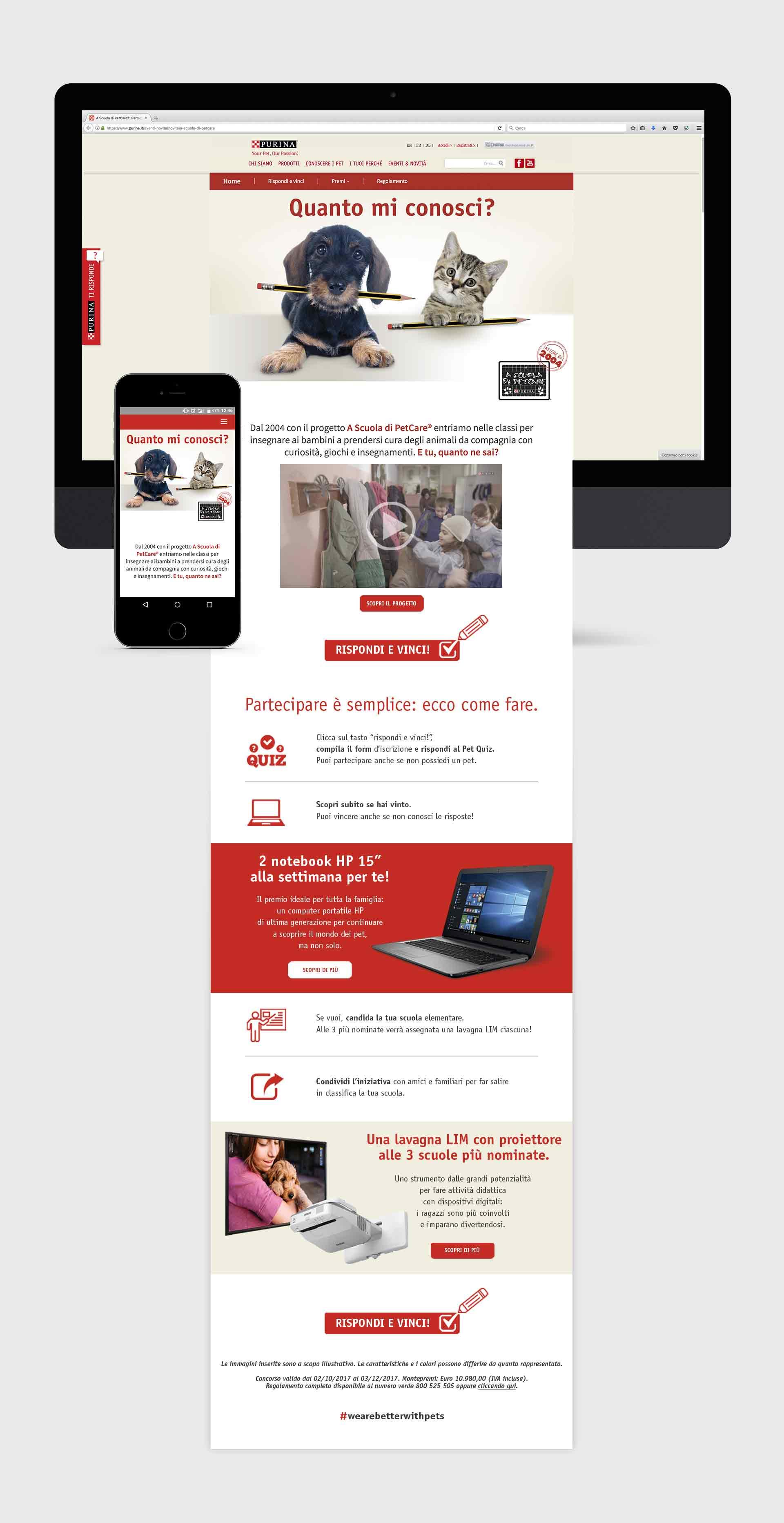 Purina - materiale promozionale - responsive web page